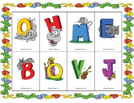 Alphabet games teaching sound symbol relationships letter names alphabet bingo with pictures spiritdancerdesigns Image collections