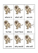 lion contractions card game